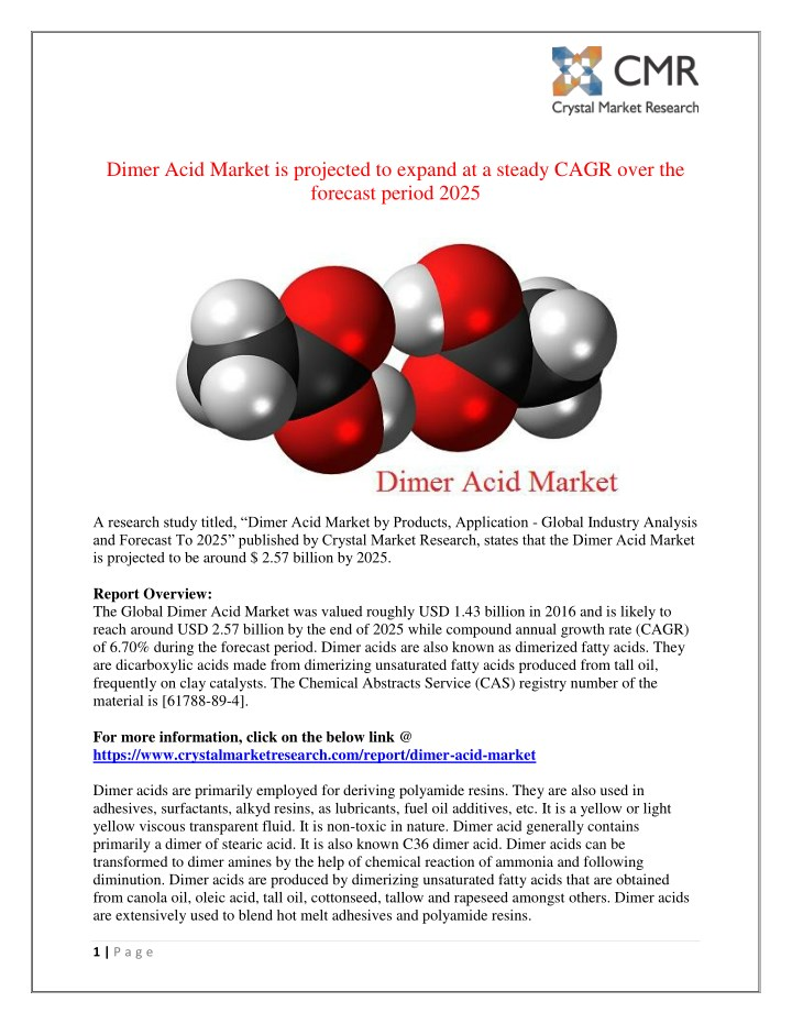 dimer acid market is projected to expand n.