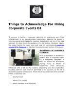 things to acknowledge for hiring corporate events