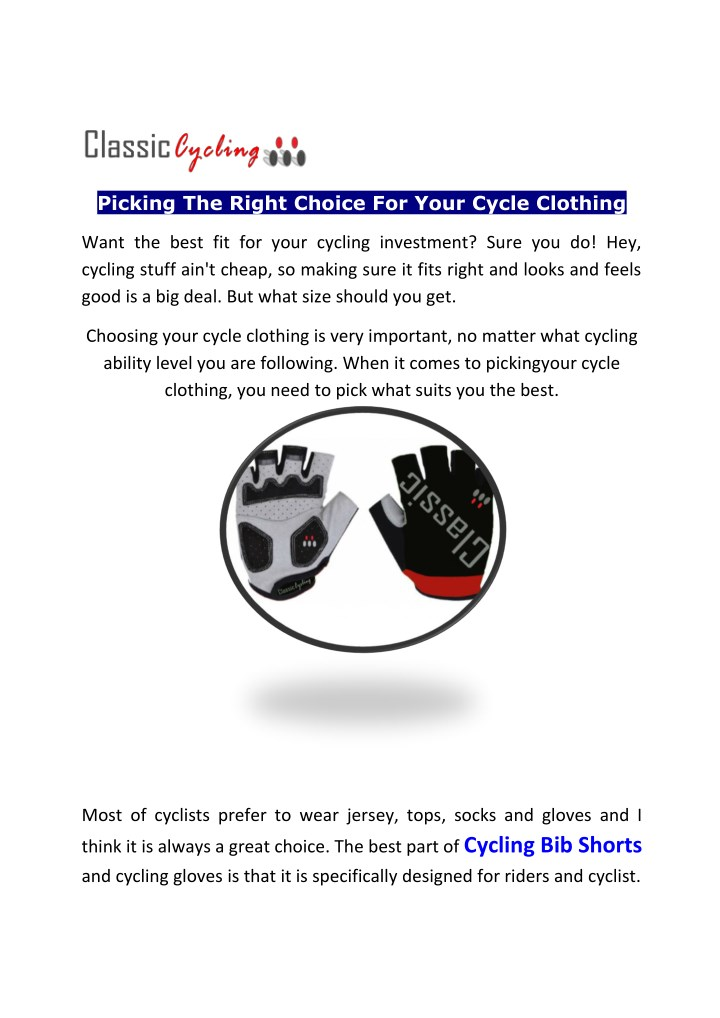 picking the right choice for your cycle clothing n.