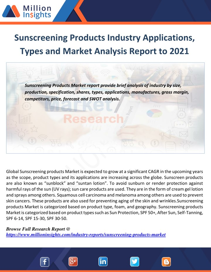 sunscreening products industry applications types n.