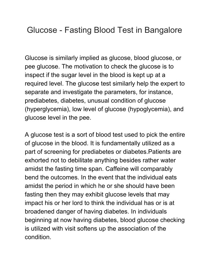 glucose fasting blood test in bangalore n.