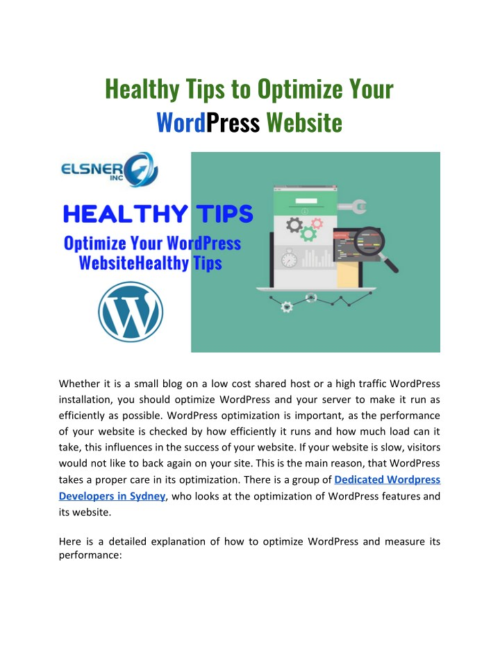 healthy tips to optimize your word press website n.