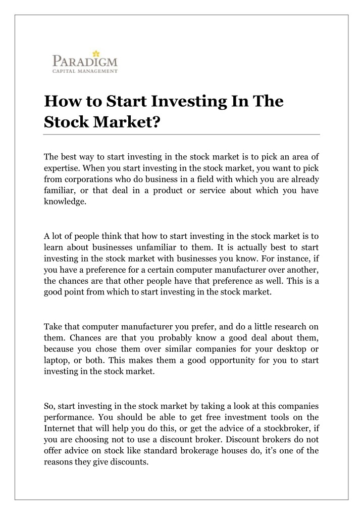 how to start investing in the stock market n.