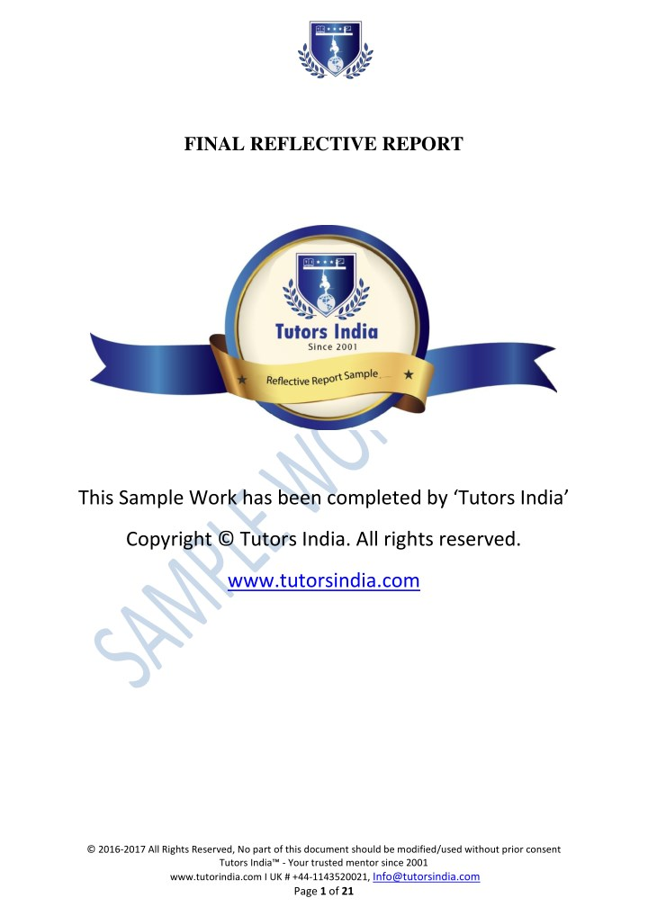 final reflective report n.