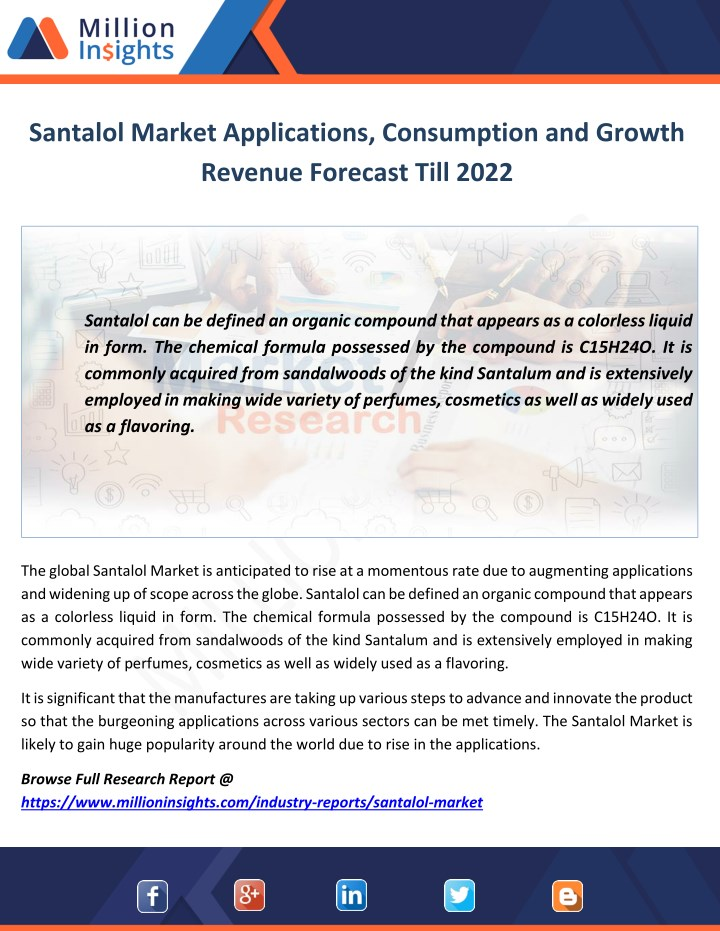 santalol market applications consumption n.