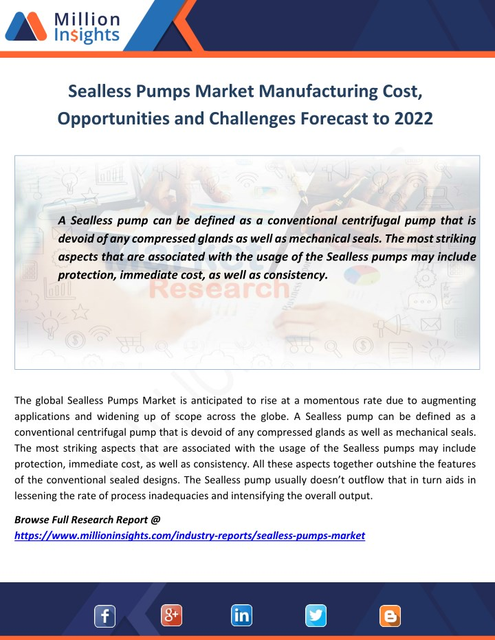 sealless pumps market manufacturing cost n.