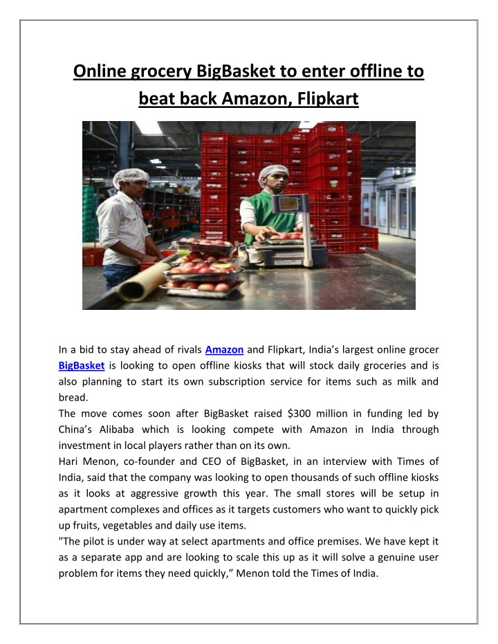 online grocery bigbasket to enter offline to beat n.