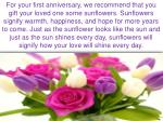 for your first anniversary we recommend that