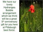 we have our lovely hydrangea bubble arrangement