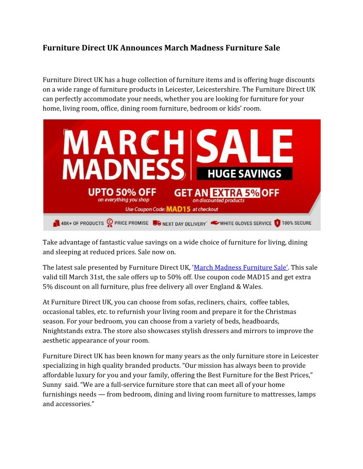 furniture direct uk announces march madness n.