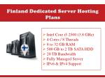 finland dedicated server hosting plans