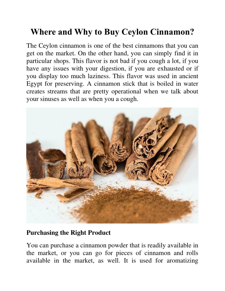 where and why to buy ceylon cinnamon n.