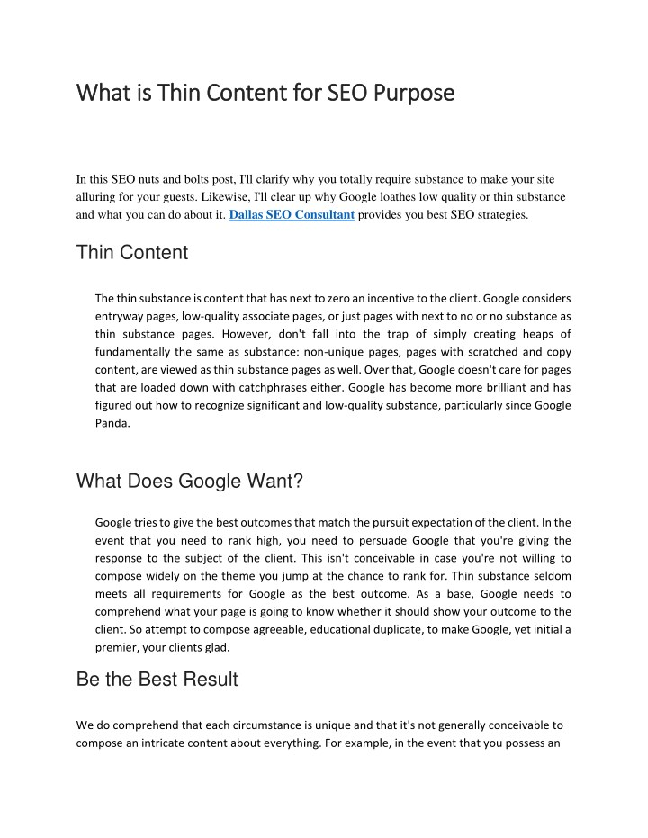 what is thin content for seo purpose what is thin n.