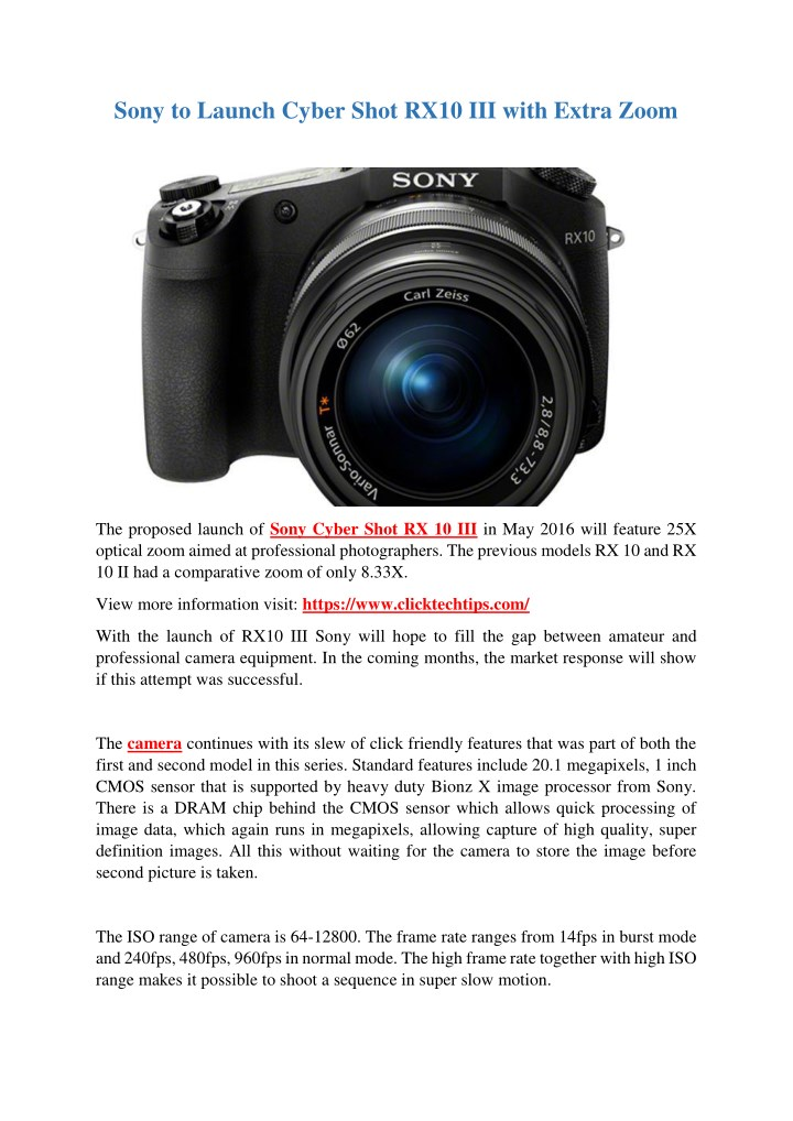 sony to launch cyber shot rx10 iii with extra zoom n.