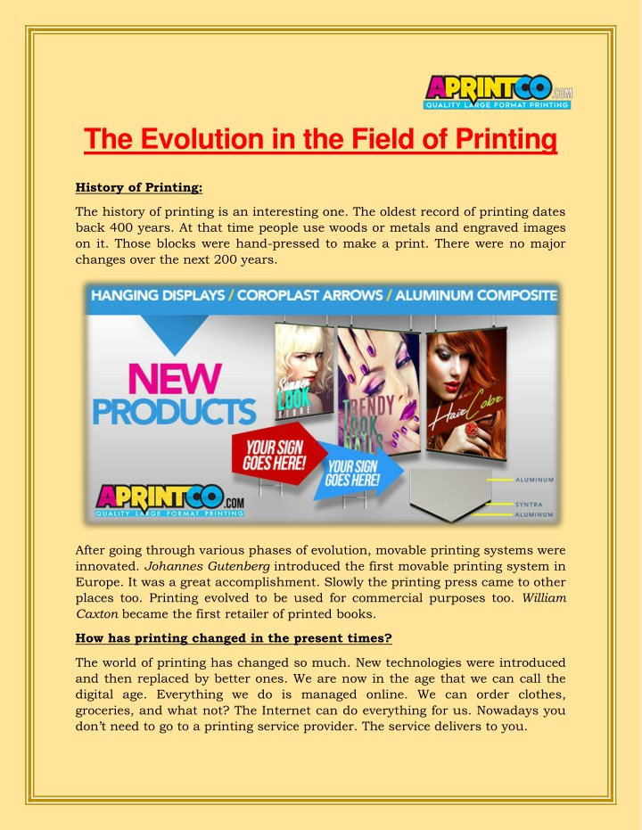 the evolution in the field of printing n.