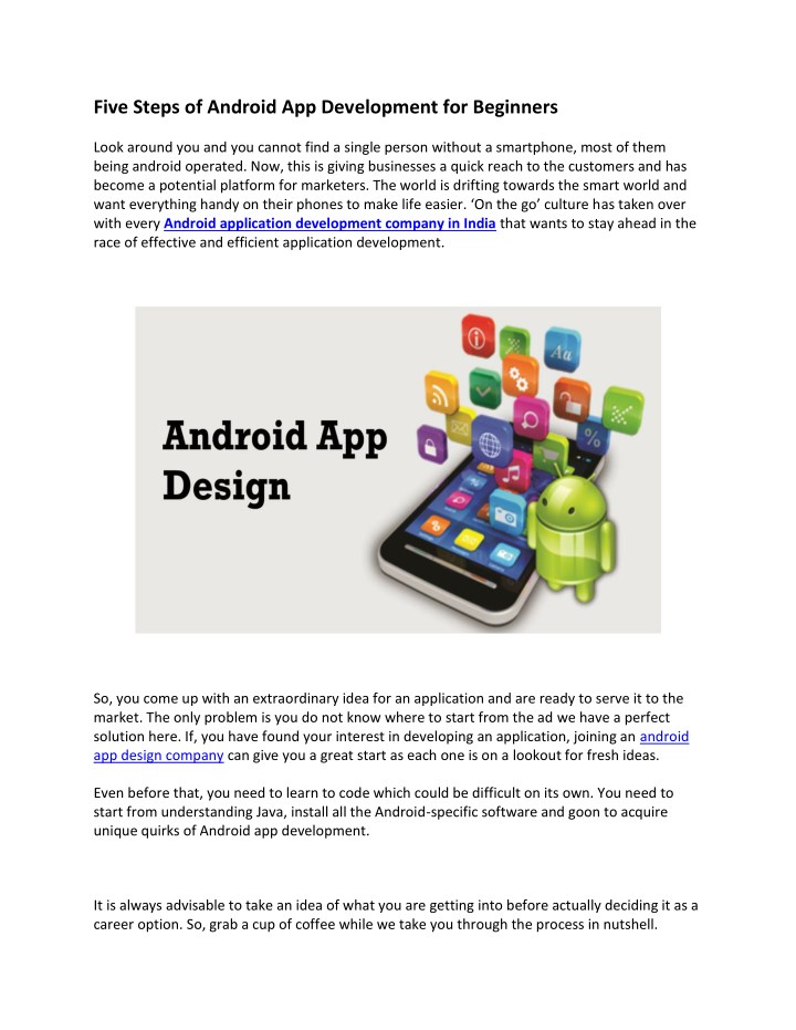five steps of android app development n.
