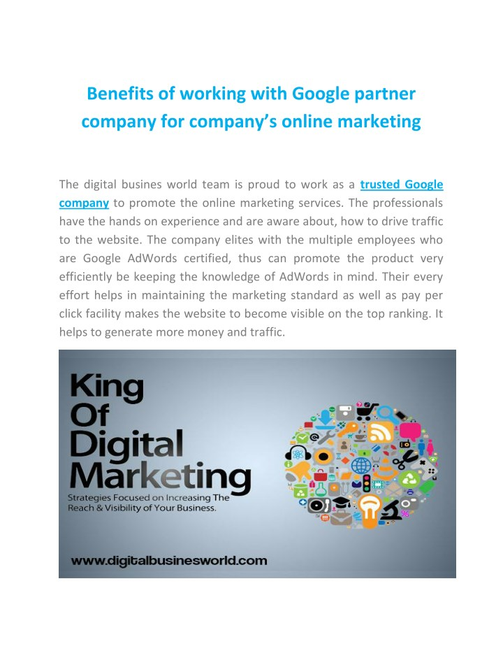 benefits of working with google partner company n.