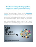 benefits of working with google partner company