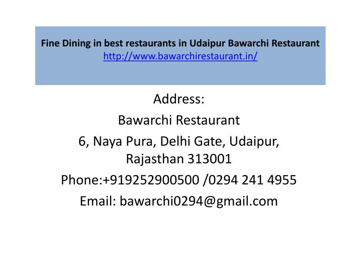 fine dining in best restaurants in udaipur bawarchi restaurant http www bawarchirestaurant in n.