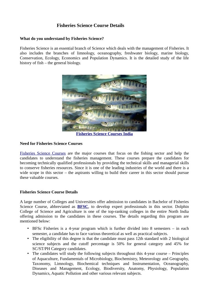 fisheries science course details n.