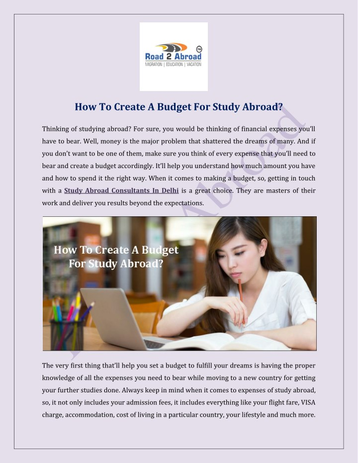 how to create a budget for study abroad n.