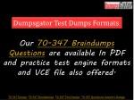 dumpsgator test dumps formats