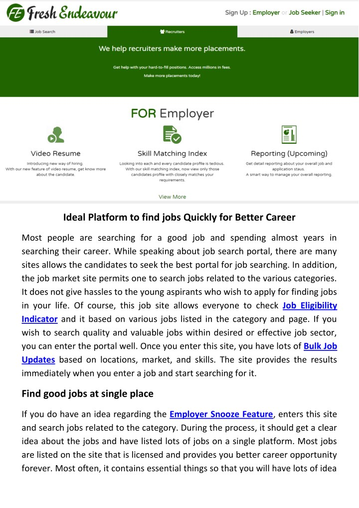 ideal platform to find jobs quickly for better n.