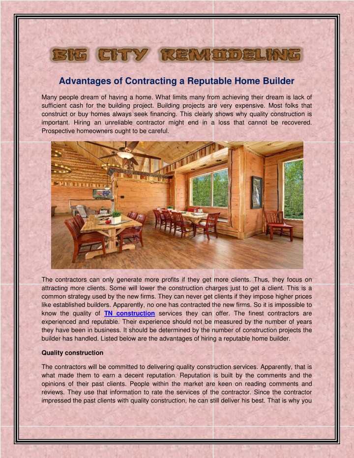 advantages of contracting a reputable home builder n.