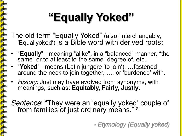 Equally yoked definition