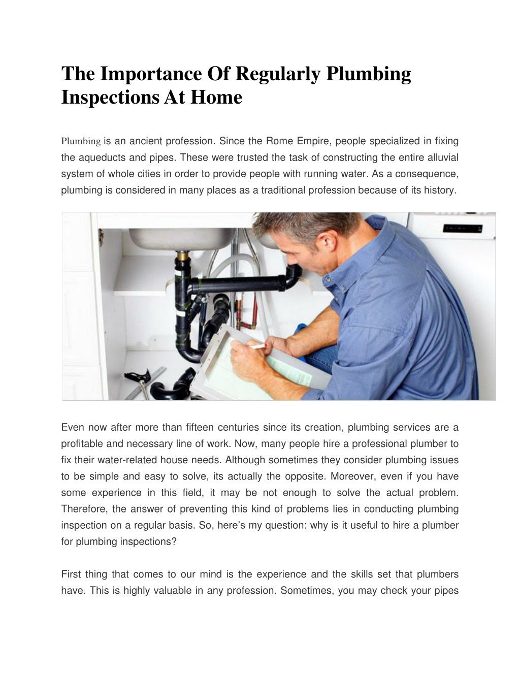 the importance of regularly plumbing inspections n
