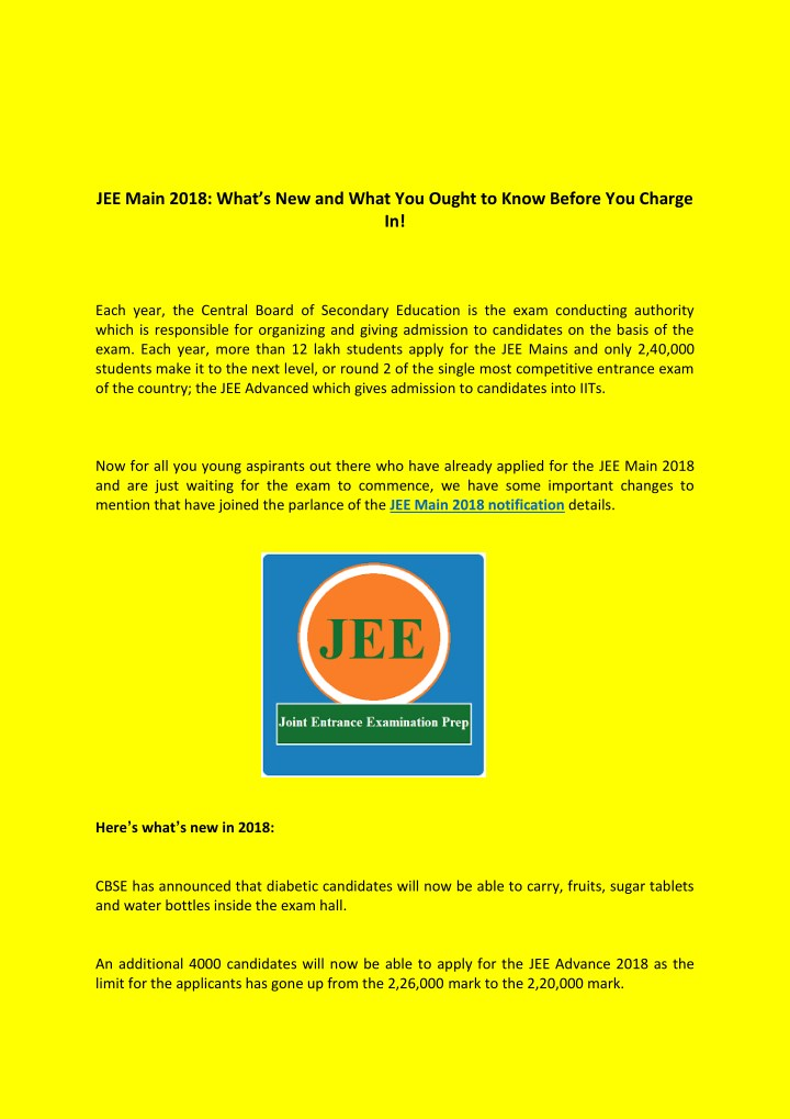 jee main 2018 what s new and what you ought n.
