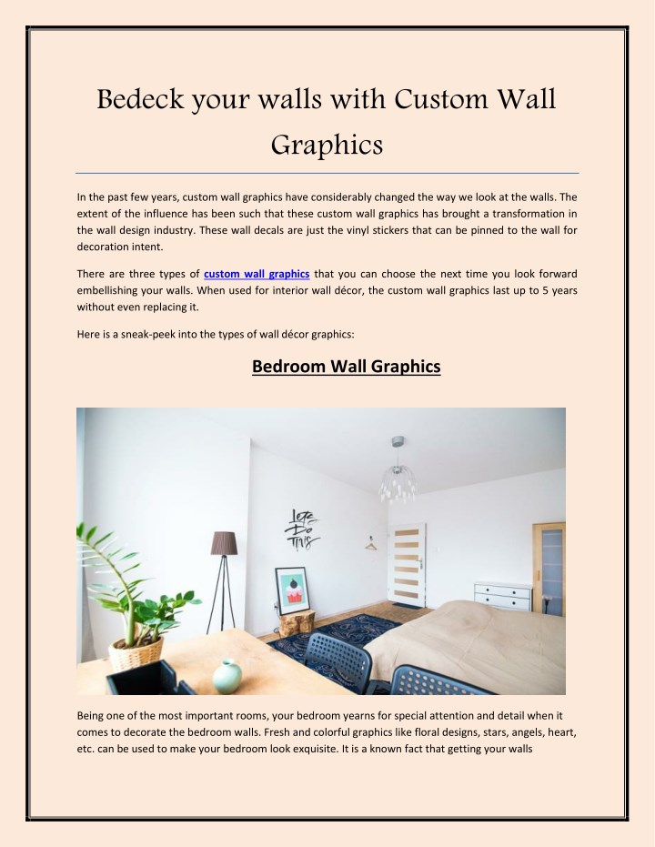 bedeck your walls with custom wall graphics n.