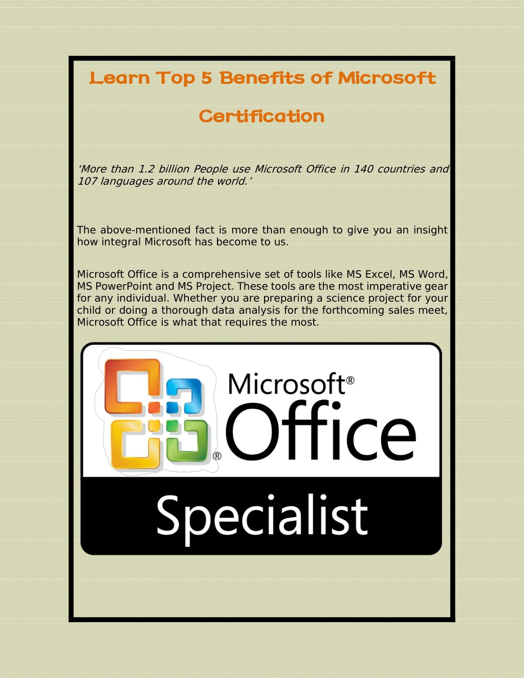 Ppt Learn Top 5 Benefits Of Microsoft Certification Powerpoint
