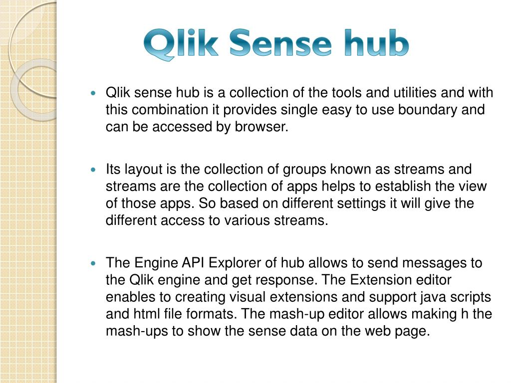 PPT - Qlik Sense training | Qlik Sense Server Hub online