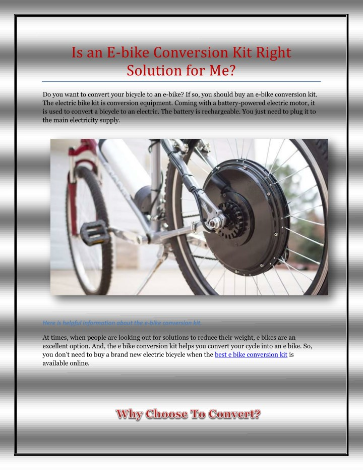 PPT - Is an E-bike Conversion Kit Right Solution for Me