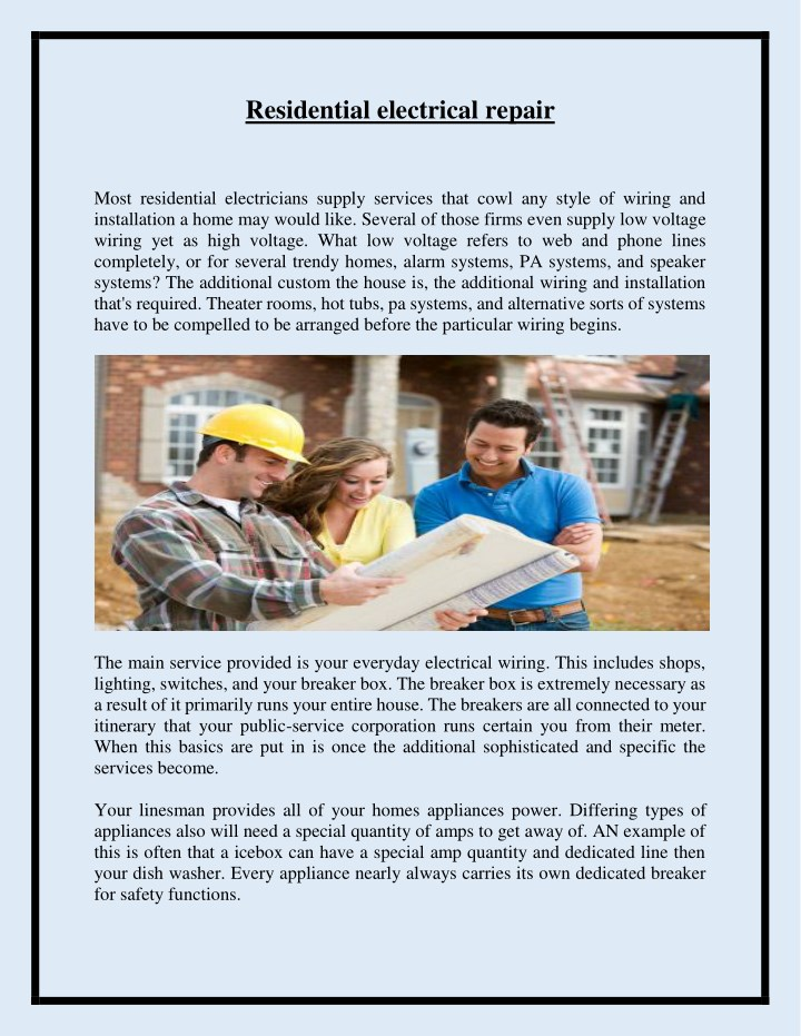 PPT - Residential electrical repair PowerPoint Presentation - ID:7807990