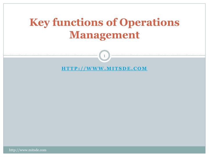 functions of operations management pdf