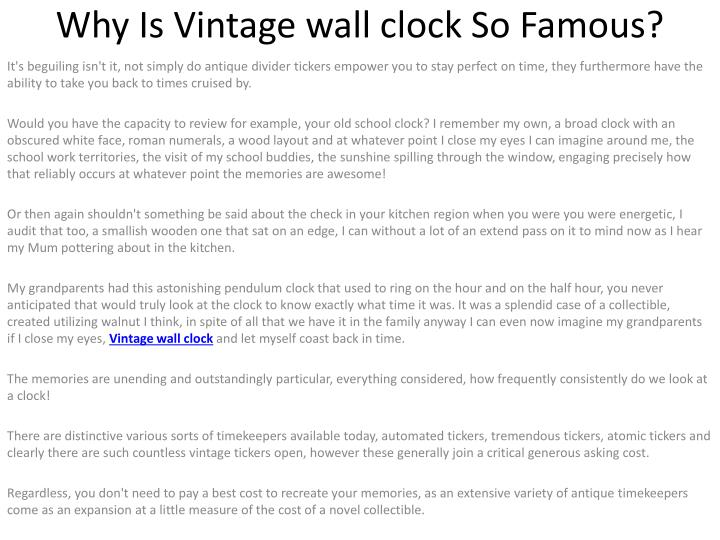 why is vintage wall clock so famous n.