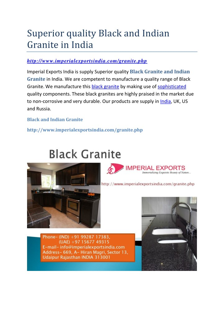 superior quality black and indian granite in india n.