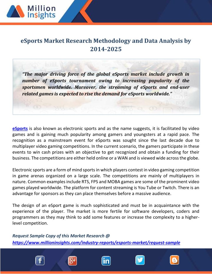 PPT - eSports Market Research Methodology and Data Analysis