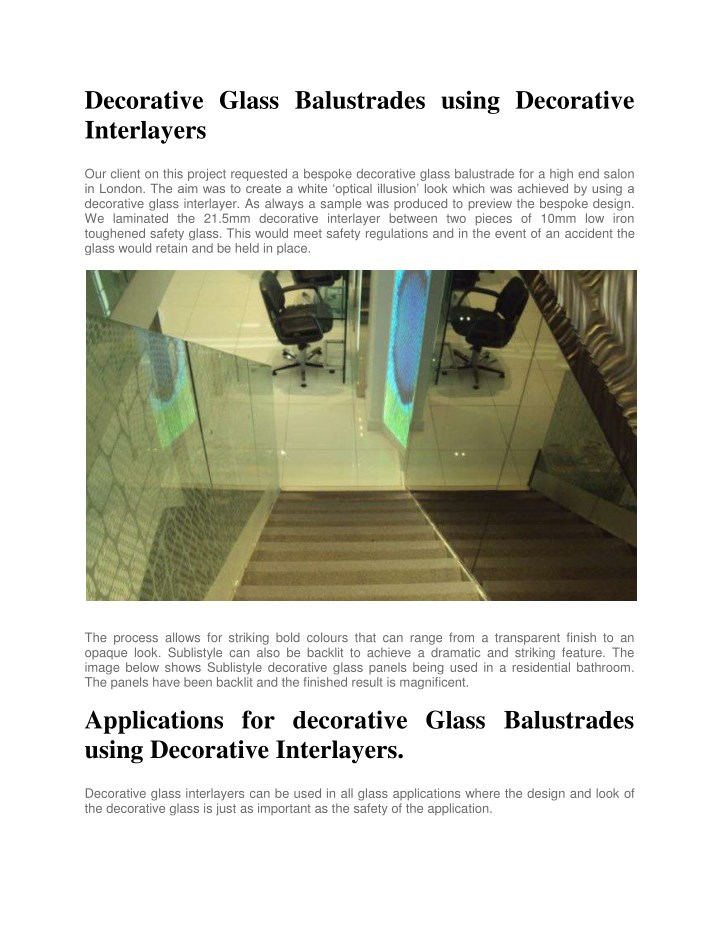decorative glass balustrades using decorative n.