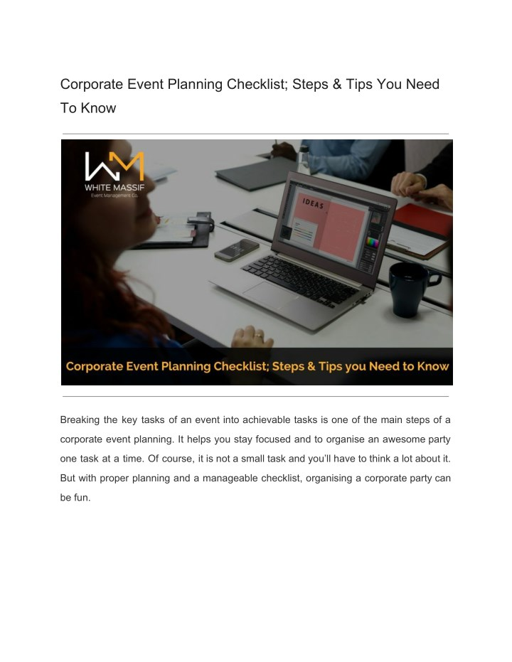corporate event planning checklist steps tips n.