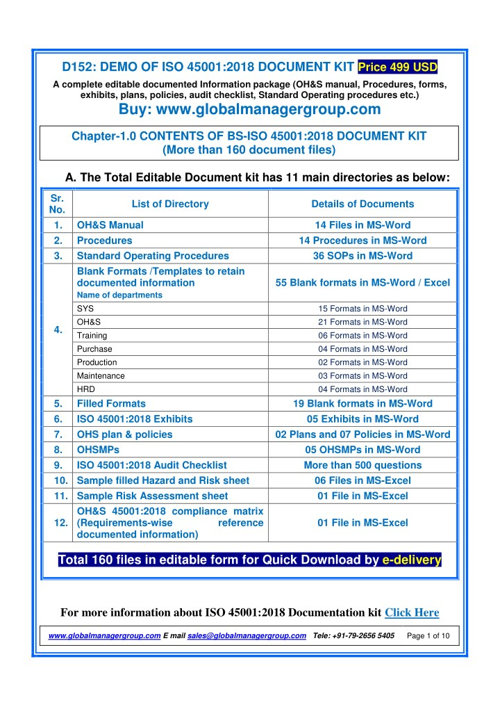 d152 demo of iso 45001 2018 document kit price n.