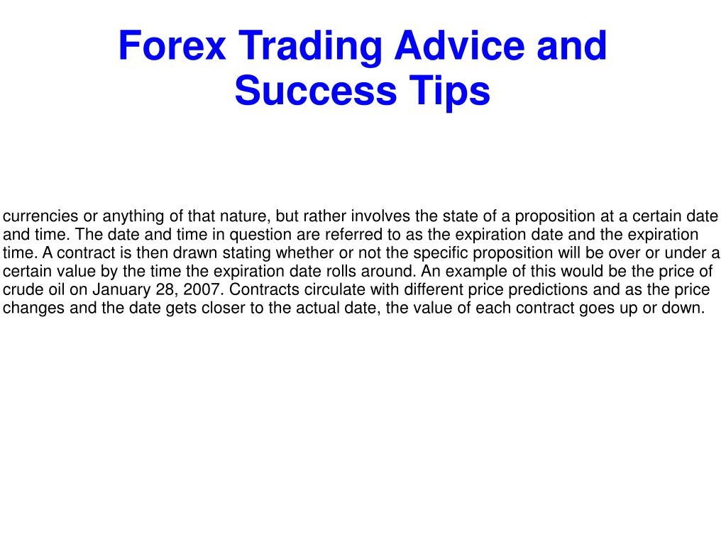Forex Trading Advice And Success Tips Point Ppt Presentation