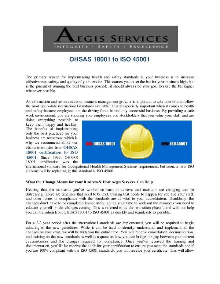 ohsas 18001 to iso 45001 n.