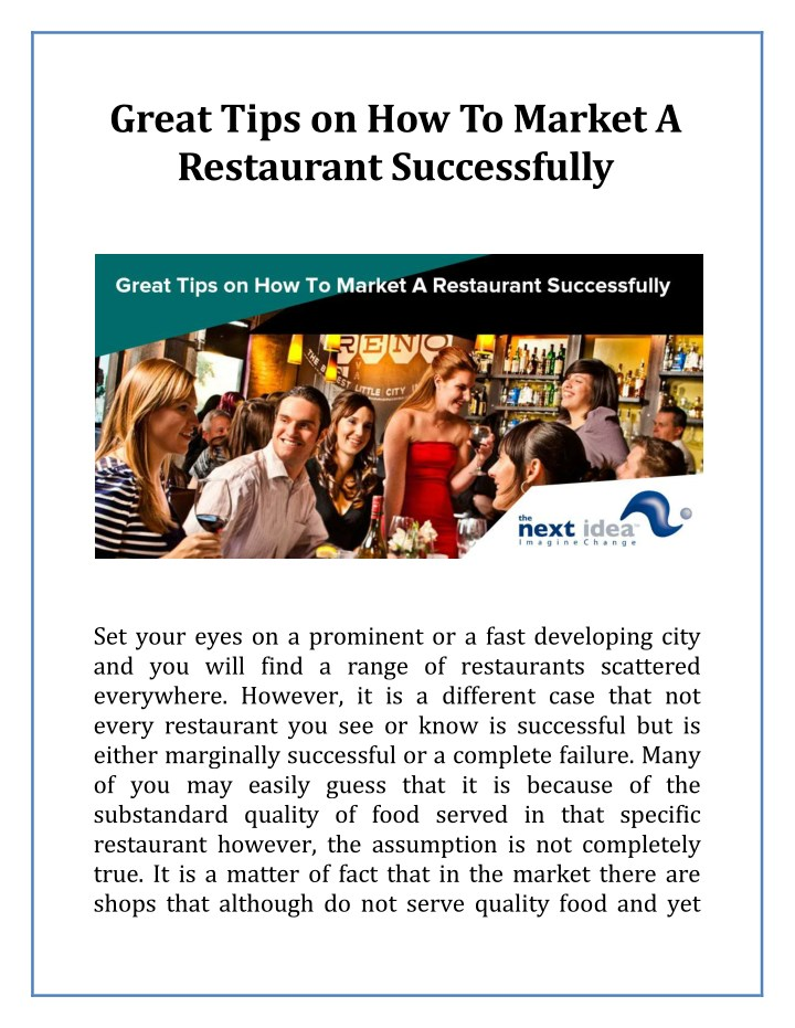 great tips on how to market a restaurant n.