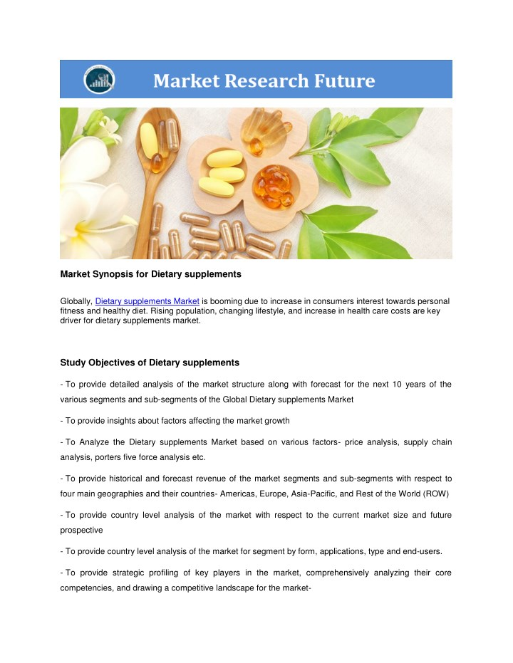 market synopsis for dietary supplements n.