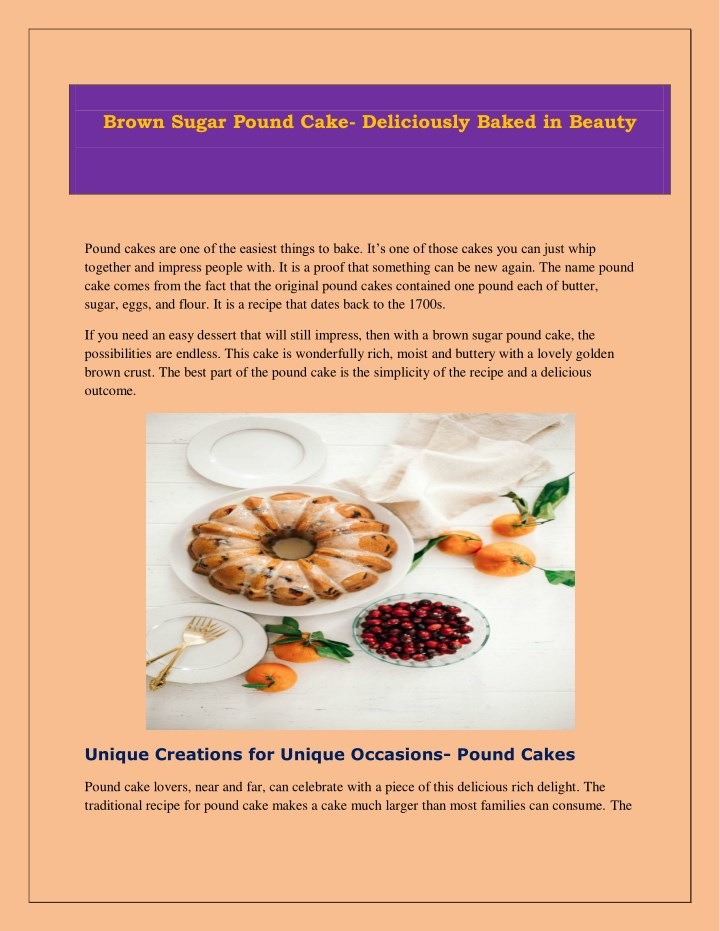 brown sugar pound cake deliciously baked in beauty n.