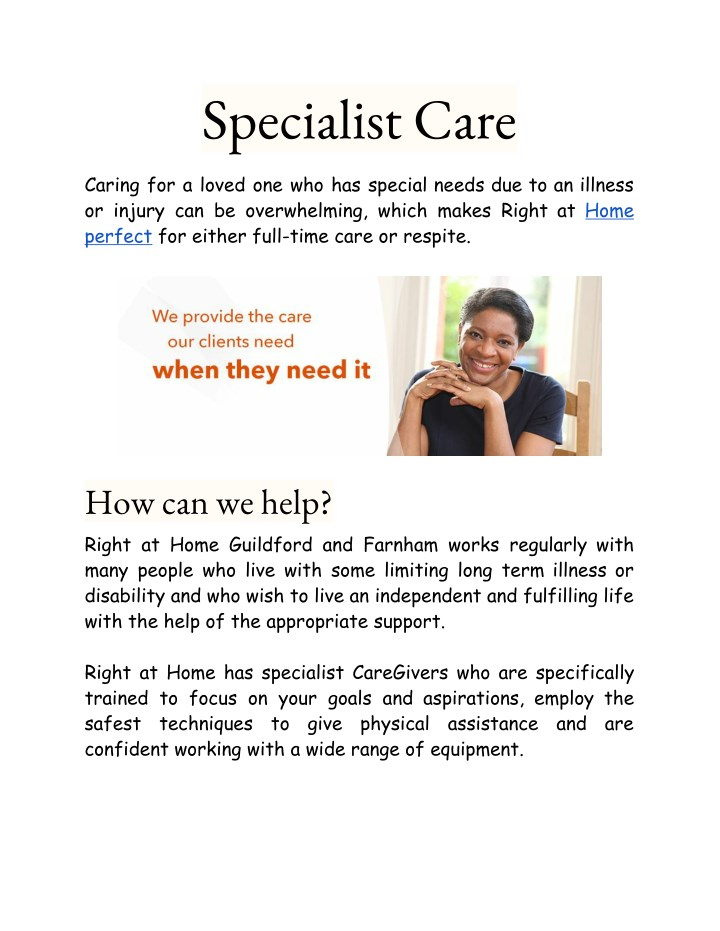 specialist care n.