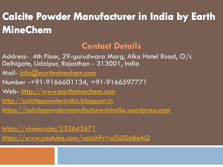 calcite powder manufacturer in india by earth minechem n.